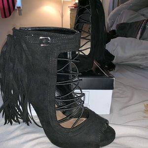 Qupid Tassel High Heels | Black Suede | Sz 10